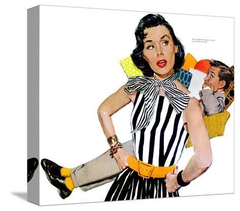 """The Lady Was Insulted - Saturday Evening Post """"Men at the Top"""", April 19, 1958 pg.35-Mike Ludlow-Stretched Canvas Print"""