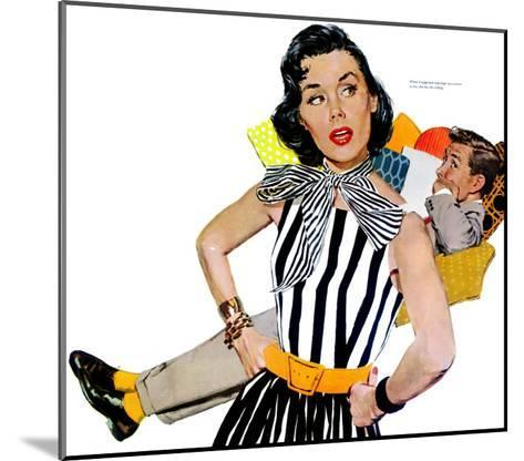 """The Lady Was Insulted - Saturday Evening Post """"Men at the Top"""", April 19, 1958 pg.35-Mike Ludlow-Mounted Giclee Print"""