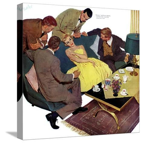 """Marriagable Age - Saturday Evening Post """"Men at the Top"""", December 13, 1958 pg.28-Kurt Ard-Stretched Canvas Print"""