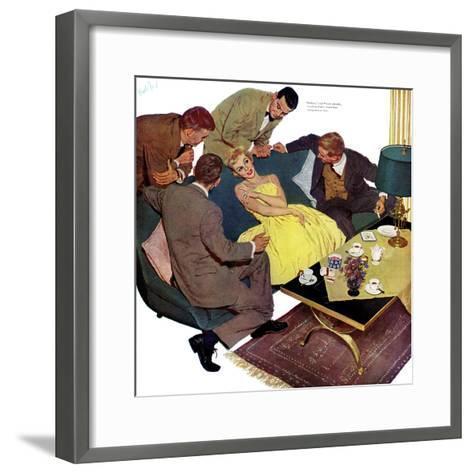 "Marriagable Age - Saturday Evening Post ""Men at the Top"", December 13, 1958 pg.28-Kurt Ard-Framed Art Print"