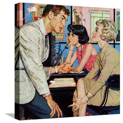 """New Girl  - Saturday Evening Post """"Men at the Top"""", August 8, 1959 pg.21-Bernard D'Andrea-Stretched Canvas Print"""