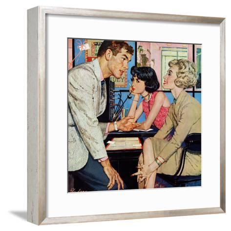"New Girl  - Saturday Evening Post ""Men at the Top"", August 8, 1959 pg.21-Bernard D'Andrea-Framed Art Print"