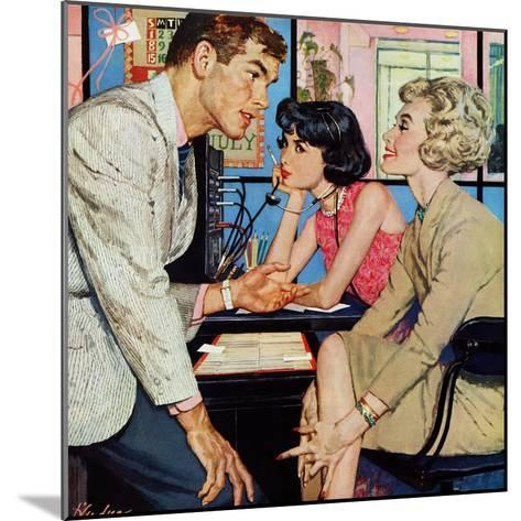 """New Girl  - Saturday Evening Post """"Men at the Top"""", August 8, 1959 pg.21-Bernard D'Andrea-Mounted Giclee Print"""