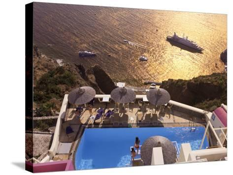 Fira, Santorini (Thira), Cyclades Islands, Greece-Gavin Hellier-Stretched Canvas Print