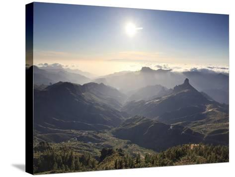 Canary Islands, Gran Canaria, Central Mountains, View of West Gran Canaria from Roque Nublo-Michele Falzone-Stretched Canvas Print