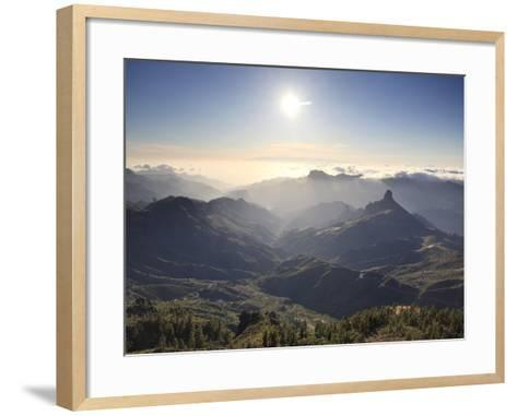 Canary Islands, Gran Canaria, Central Mountains, View of West Gran Canaria from Roque Nublo-Michele Falzone-Framed Art Print