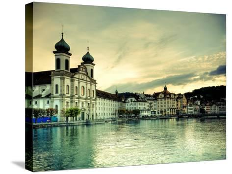 Switzerland, Lucern (Luzern), Jesuit Church and River Reuss-Michele Falzone-Stretched Canvas Print
