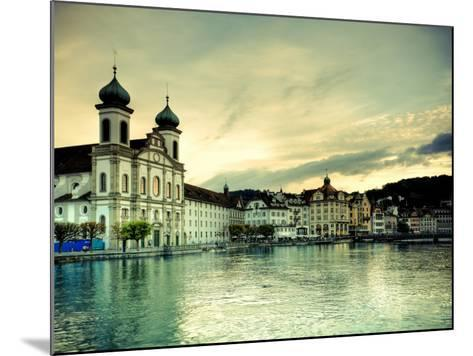 Switzerland, Lucern (Luzern), Jesuit Church and River Reuss-Michele Falzone-Mounted Photographic Print