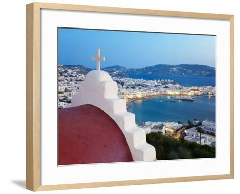 Elevated View over the Harbour and Old Town, Mykonos (Hora), Cyclades Islands, Greece, Europe-Gavin Hellier-Framed Art Print