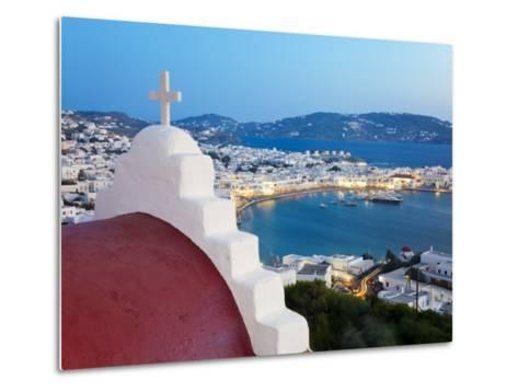 Elevated View over the Harbour and Old Town, Mykonos (Hora), Cyclades Islands, Greece, Europe-Gavin Hellier-Metal Print