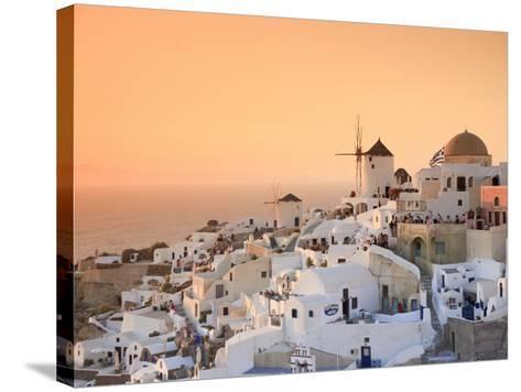 Greece, Cyclades, Santorini, Oia Town and Santorini Caldera-Michele Falzone-Stretched Canvas Print