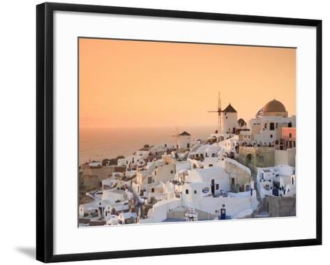 Greece, Cyclades, Santorini, Oia Town and Santorini Caldera-Michele Falzone-Framed Art Print