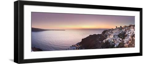 Greece, Cyclades, Santorini, Panoramic View Oia Town and Santorini Caldera-Michele Falzone-Framed Art Print