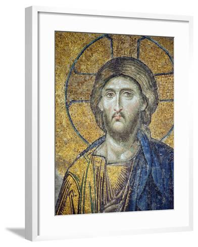 Turkey, Istanbul, Hagia Sophia; Detail from the Deesis Mosaic-Nick Laing-Framed Art Print