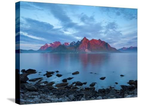 Flakstad Mountain Range Illuminated by Midnight Sun, Lofoten Islands, Norway-Doug Pearson-Stretched Canvas Print