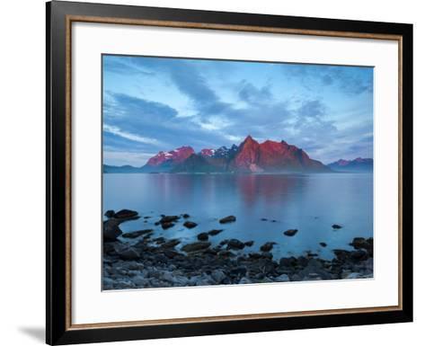 Flakstad Mountain Range Illuminated by Midnight Sun, Lofoten Islands, Norway-Doug Pearson-Framed Art Print