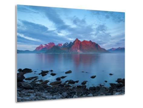 Flakstad Mountain Range Illuminated by Midnight Sun, Lofoten Islands, Norway-Doug Pearson-Metal Print
