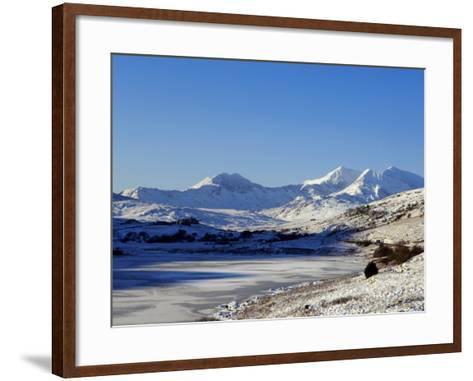 Wales, Gwynedd, Snowdonia; View over the Frozen Llyn Mymbyr Towards the Snowdon Horseshoe-John Warburton-lee-Framed Art Print