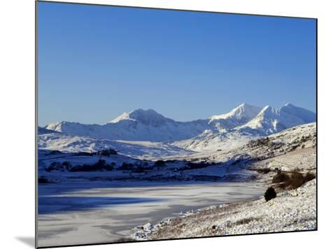Wales, Gwynedd, Snowdonia; View over the Frozen Llyn Mymbyr Towards the Snowdon Horseshoe-John Warburton-lee-Mounted Photographic Print
