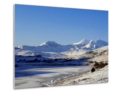 Wales, Gwynedd, Snowdonia; View over the Frozen Llyn Mymbyr Towards the Snowdon Horseshoe-John Warburton-lee-Metal Print