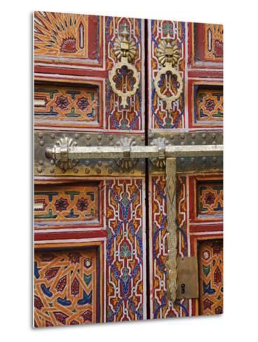 Door in the Old Medina of Fes, Morocco-Julian Love-Metal Print