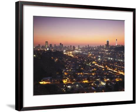 View of Johannesburg Skyline at Sunset, Gauteng, South Africa-Ian Trower-Framed Art Print