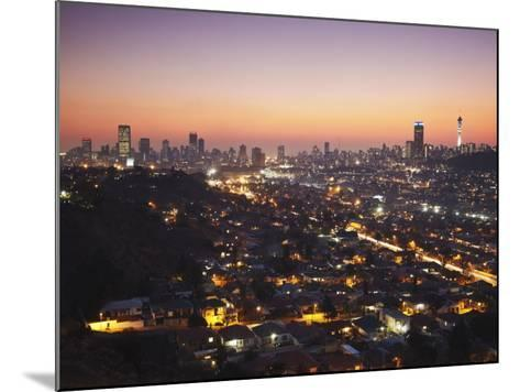 View of Johannesburg Skyline at Sunset, Gauteng, South Africa-Ian Trower-Mounted Photographic Print