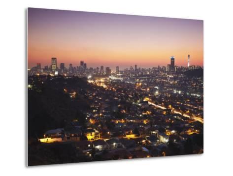 View of Johannesburg Skyline at Sunset, Gauteng, South Africa-Ian Trower-Metal Print