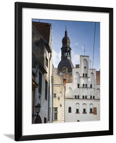 Latvia, Riga, Old Riga, Three Brothers Houses, Oldest in City-Walter Bibikow-Framed Art Print