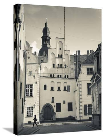 Latvia, Riga, Old Riga, Three Brothers Houses, Oldest in City-Walter Bibikow-Stretched Canvas Print