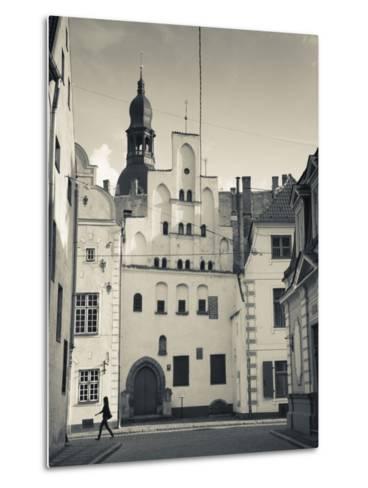 Latvia, Riga, Old Riga, Three Brothers Houses, Oldest in City-Walter Bibikow-Metal Print