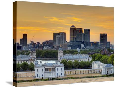 Uk, London, Greenwich, Greenwich Park, National Maritime Musuem and Canary Wharf-Alan Copson-Stretched Canvas Print