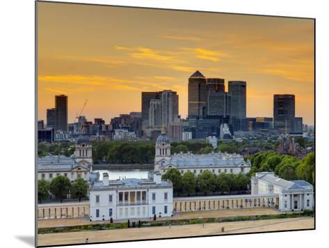 Uk, London, Greenwich, Greenwich Park, National Maritime Musuem and Canary Wharf-Alan Copson-Mounted Photographic Print