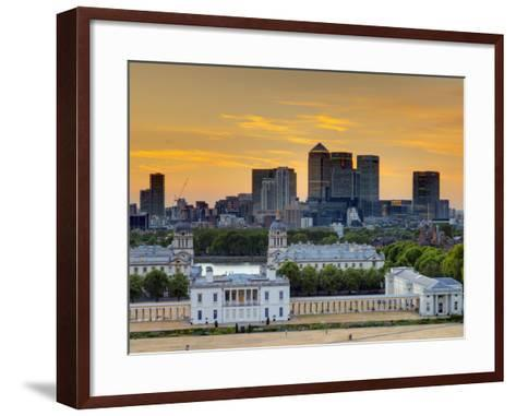 Uk, London, Greenwich, Greenwich Park, National Maritime Musuem and Canary Wharf-Alan Copson-Framed Art Print