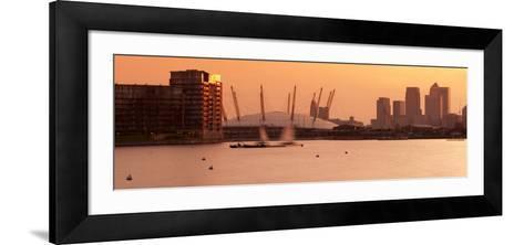 Uk, England, London, Royal Victoria Dock, Canary Wharf Skyline and O2 Arena (Millennium Dome)-Alan Copson-Framed Art Print