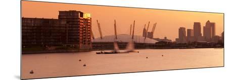 Uk, England, London, Royal Victoria Dock, Canary Wharf Skyline and O2 Arena (Millennium Dome)-Alan Copson-Mounted Photographic Print