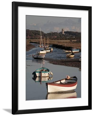 England, Norfolk, Morston Quay; Rowing Boats and Sailing Dinghies at Low Tide-Will Gray-Framed Art Print