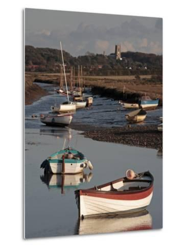 England, Norfolk, Morston Quay; Rowing Boats and Sailing Dinghies at Low Tide-Will Gray-Metal Print