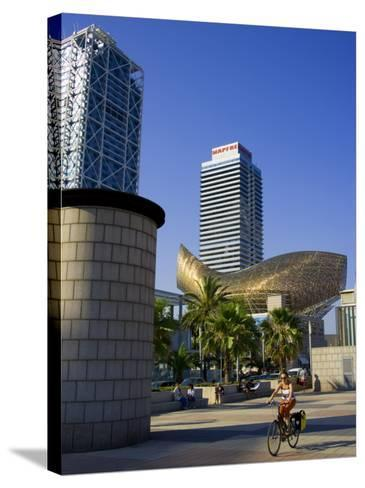Barceloneta Beach and Port Olimpic with Frank Gehry Sculpture, Barcelona, Spain-Carlos Sanchez Pereyra-Stretched Canvas Print