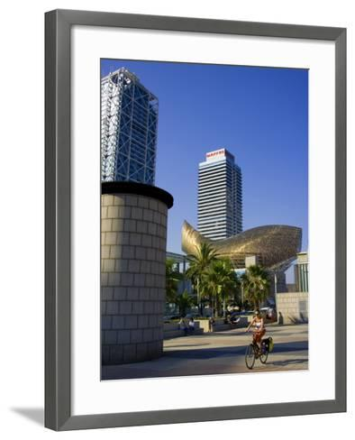 Barceloneta Beach and Port Olimpic with Frank Gehry Sculpture, Barcelona, Spain-Carlos Sanchez Pereyra-Framed Art Print
