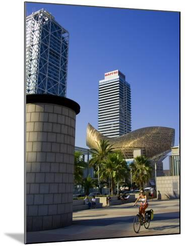 Barceloneta Beach and Port Olimpic with Frank Gehry Sculpture, Barcelona, Spain-Carlos Sanchez Pereyra-Mounted Photographic Print