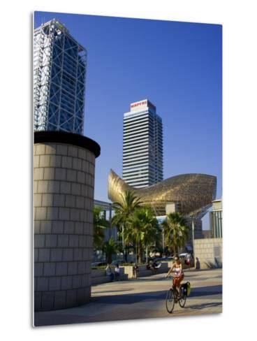 Barceloneta Beach and Port Olimpic with Frank Gehry Sculpture, Barcelona, Spain-Carlos Sanchez Pereyra-Metal Print