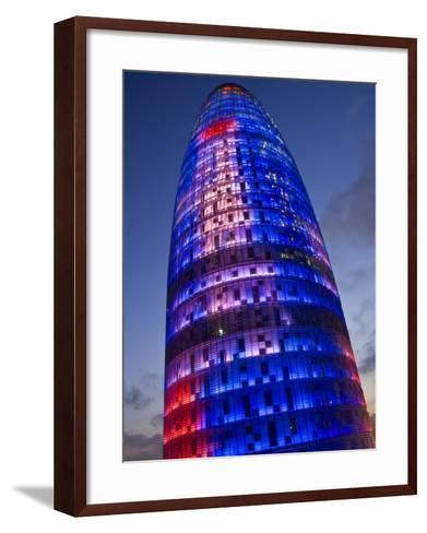 Agbar Tower, 142M Skyscraper by Architect Jean Nouve, Glorias Square, Barcelona, Spain-Carlos Sanchez Pereyra-Framed Art Print