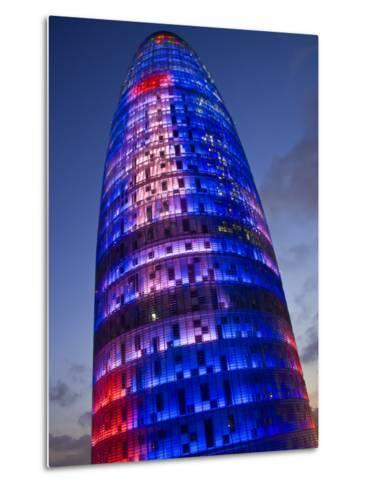 Agbar Tower, 142M Skyscraper by Architect Jean Nouve, Glorias Square, Barcelona, Spain-Carlos Sanchez Pereyra-Metal Print