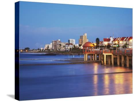 Summerstrand Beachfront at Dusk, Port Elizabeth, Eastern Cape, South Africa-Ian Trower-Stretched Canvas Print