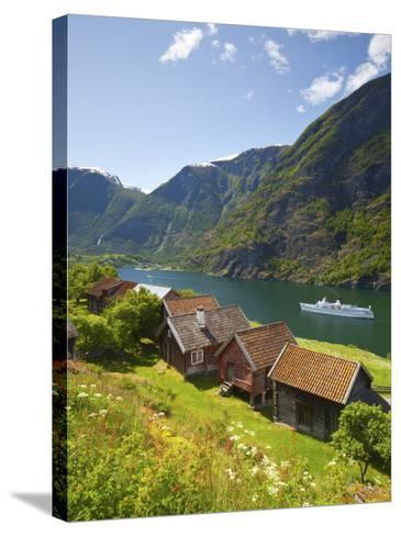 Elevated View over Otternes Bygdetun, Aurlands Fjord, Sogn Og Fjordane, Norway-Doug Pearson-Stretched Canvas Print