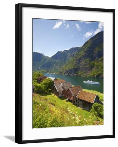 Elevated View over Otternes Bygdetun, Aurlands Fjord, Sogn Og Fjordane, Norway-Doug Pearson-Framed Art Print