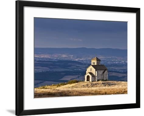 France, Tarn, Dourgne; the Tiny Chapelle De St Ferreol on a Crest Above the Village of Dourgne-Katie Garrod-Framed Art Print