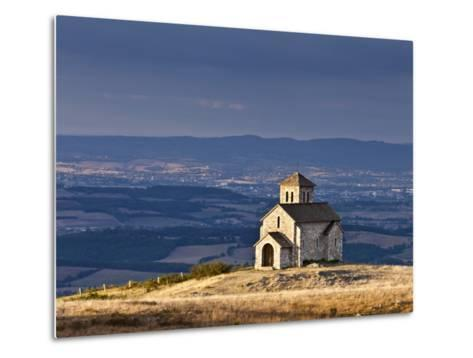 France, Tarn, Dourgne; the Tiny Chapelle De St Ferreol on a Crest Above the Village of Dourgne-Katie Garrod-Metal Print