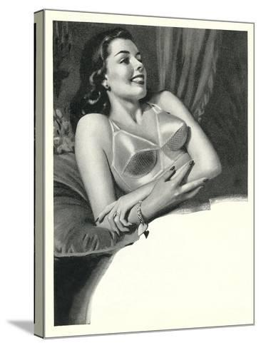 Happy Lady with Brassiere--Stretched Canvas Print